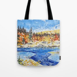 Landscape painting- The clear water River - by LiliFlore Tote Bag