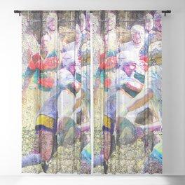 Womens rugby art 3 Sheer Curtain