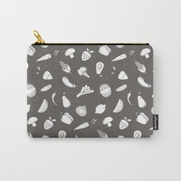 Vegetables and fruit black and white pattern Carry-All Pouch