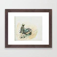 Wheelbarrow man - Cap Haitian Framed Art Print
