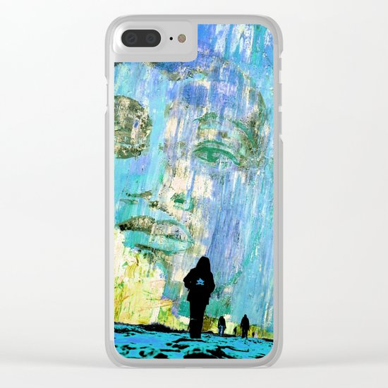 Castaneda and the kids - blue Clear iPhone Case