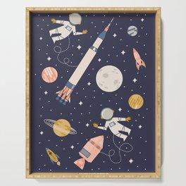Lunar Spacewalk - Coral + Gold Serving Tray