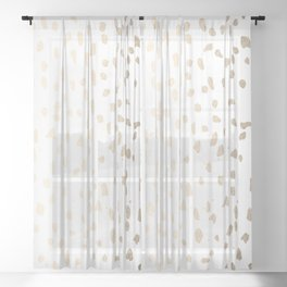 Luxe Gold Painted Polka Dot on White Sheer Curtain