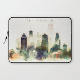 Philadelphia Pennsylvania Watercolor Skyline Laptop Sleeve