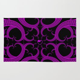 Purple Gothic Fractal Heart Pattern Rug