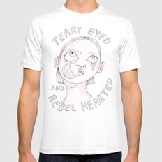 Teary eyed and rebel hearted Mens Fitted Tee White X-LARGE