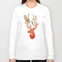 antlers Long Sleeve T-shirts featuring Antlers by Jonathan Sims