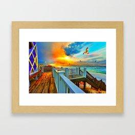 Colorful Beach Art Print Sunset Landscape Sea Hawk Framed Art Print