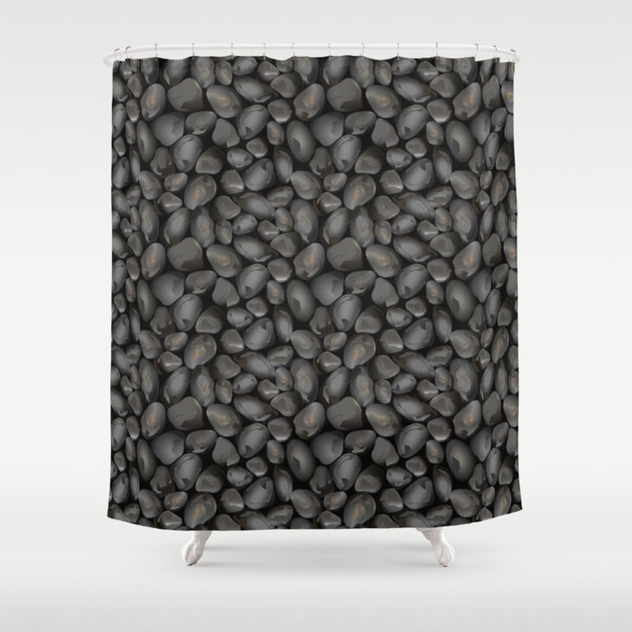 Dark Glossy Pebbles Shower Curtain By Adamfahey