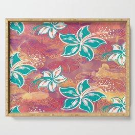Teal Watercolor Hibiscus Jungle Print Serving Tray