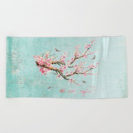 Its All Over Again - Romantic Spring Cherry Blossom Butterfly Illustration on Teal Watercolor Beach Towel
