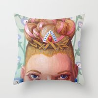 princess peach Throw Pillows featuring Princess Peach by Jodi Hoover Art