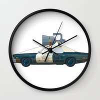 blues brothers Wall Clocks featuring The Blues Brothers Bluesmobile 1/3 by Staermose