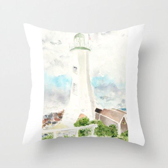 Morning at Scituate Lighthouse Throw Pillow