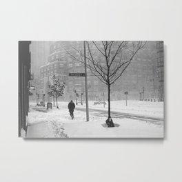 Boston resident walking in the snow Metal Print