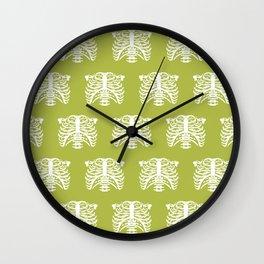 Human Rib Cage Pattern Chartreuse Green Wall Clock