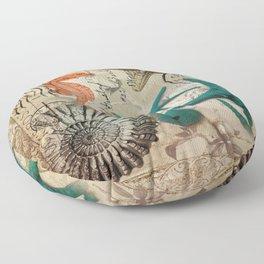 french botanical art seahorse teal green starfish Floor Pillow