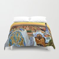 barcelona Duvet Covers featuring Barcelona by Darla Designs