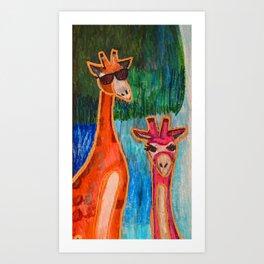 Giraffe Couple Art Print