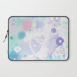 Peinture digitale tons pastels fleurs nuages bulles rose vert bleu jaune blanc Laptop Sleeve