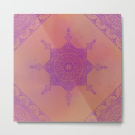 Purple Ornamental Design On Terracotta Metal Print