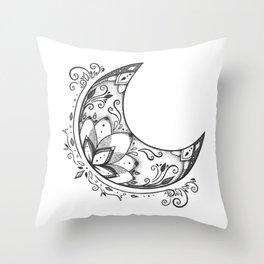 Ornamental Crescent Moon Lotus Throw Pillow