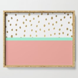 Coral teal color block faux gold foil polka dots pattern Serving Tray