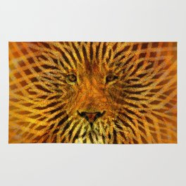 A design that incorporates zebra stripes and the face of a Lion Rug