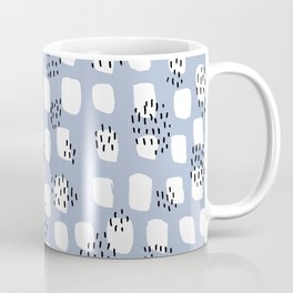 Spotted series messy abstract dashes blue black and white raw paint spots Coffee Mug