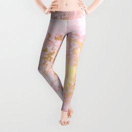 Rose Gold Metal Foil on Pink Marble  -  Summer Girl I Leggings