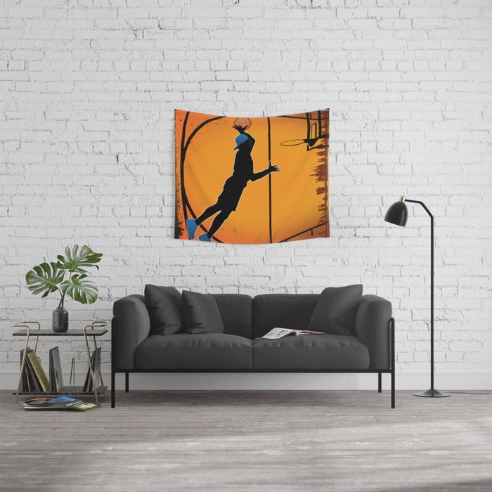 Basketball Player Silhouette Wall Tapestry