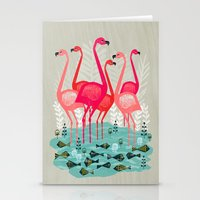 yetiland Stationery Cards featuring Flamingos by Andrea Lauren  by Andrea Lauren Design