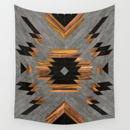 Urban Tribal Pattern 6 - Aztec - Concrete and Wood Wall Tapestry