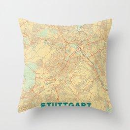 Stuttgart Map Retro Throw Pillow