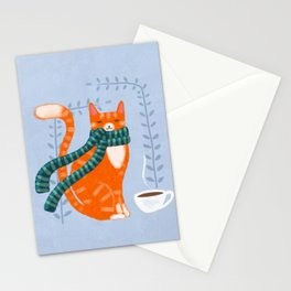 Winter Ginger Coffee Cat Stationery Cards