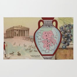 Vintage Map of Greece with Illustrations (1890) Rug