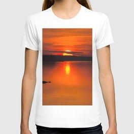 Autumn Sunset Orange Sky Lakescape #decor #society6 #buyart T-shirt