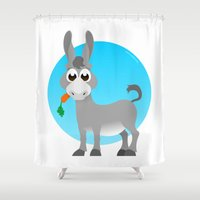 donkey Shower Curtains featuring Little donkey by tuditees