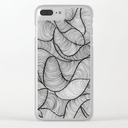 Black Swirl Lines Clear iPhone Case