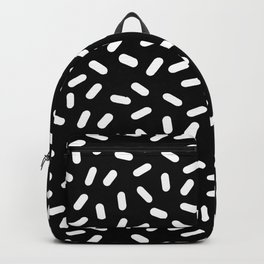 Bingo - black and white sprinkle retro modern pattern print monochromatic trendy hipster 80s style Backpack