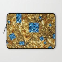 FACETED BLUE  TOPAZ GEMSTONES ON GOLD Laptop Sleeve