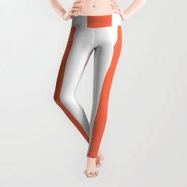 Outrageous Orange - solid color - white vertical lines pattern Leggings