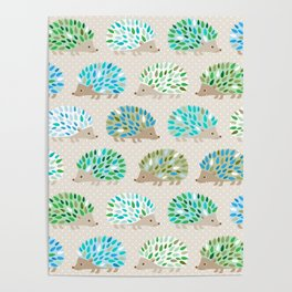 Hedgehog polkadot in green and blue Poster