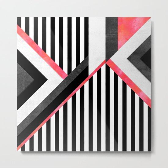 Stripe Combination / Pink Metal Print