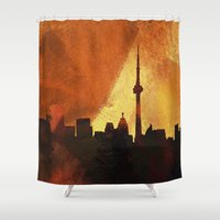 toronto Shower Curtains featuring Toronto Skyline by George Michael