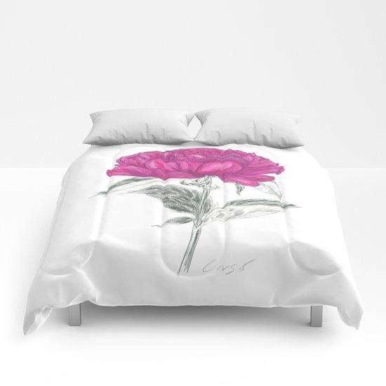 Peony 01 Botanical Flower *Pink, Magenta Comforters