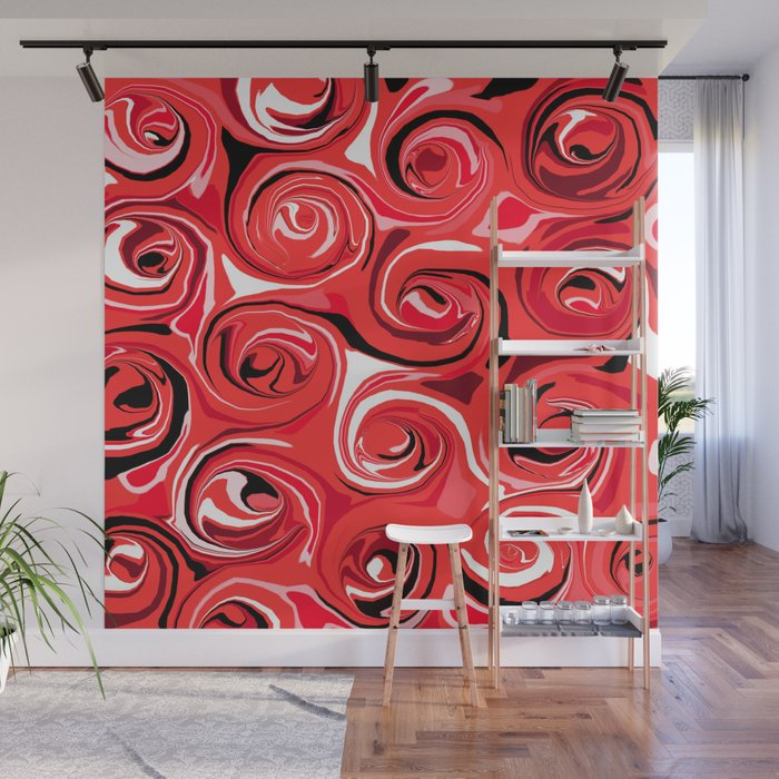 Red Apple Abstract Swirls Pattern Wall Mural