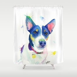 "Jack Russell Terrier Watercolour ""Charlie"" Shower Curtain"