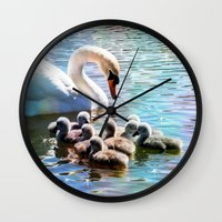 aelwen Wall Clocks featuring CYG-NIFICANT by Catspaws