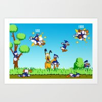 donald duck Art Prints featuring Donald Duck Hunt by VGPrints